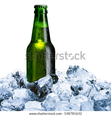 Beer Bottle and ice cube