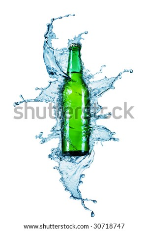 beer bottle being poured in a water on white - stock photo