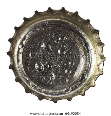 beer bottle cap close up macro  Isolated on white background - stock photo