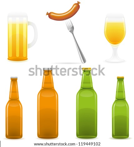 beer bottle glass and sausage illustration isolated on white background