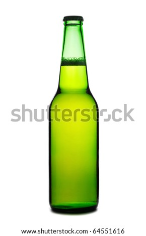 Beer bottle isolated on white background - stock photo