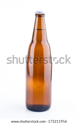 Beer bottle isolated white background