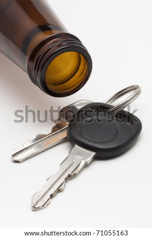 Beer Bottle & Keys - stock photo