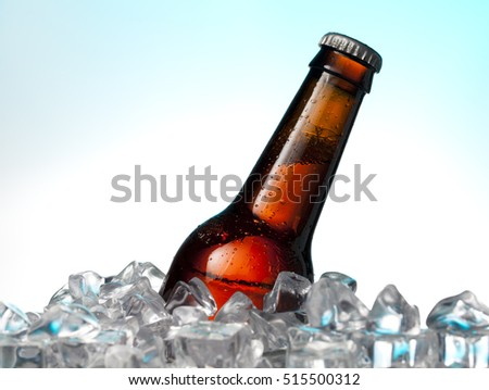 Beer bottle on ice.