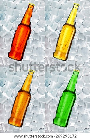 Beer bottle on ice collection - stock photo