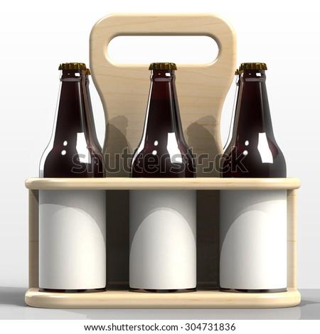Beer bottle side by side with blank label inside wooden case - 3d render image - stock photo