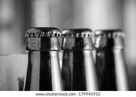 Beer Bottle - This is a high contrast black and white shot of a few beer bottles. Shot with a shallow depth of field. - stock photo