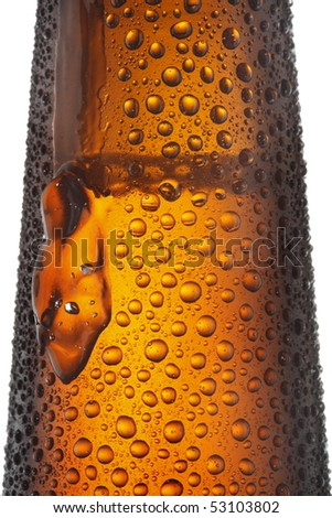 Beer Bottle top part close up isolated on white background - stock photo