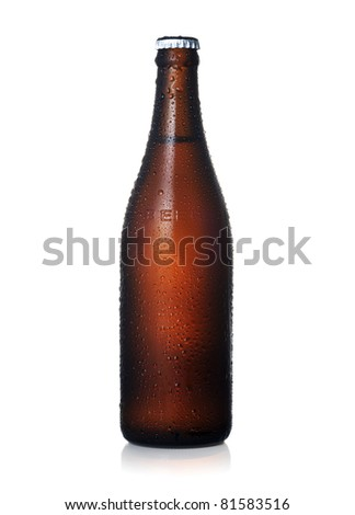 Beer bottle with dewdrops - stock photo