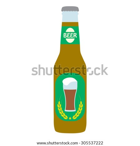 Beer bottle with label on white background. Colorful icon or sign. Symbol or design element for restaurant, beer pub or cafe.  - stock photo