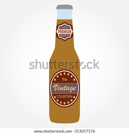 Beer bottle with label on white background. Colorful illustration. Flat design. - stock photo