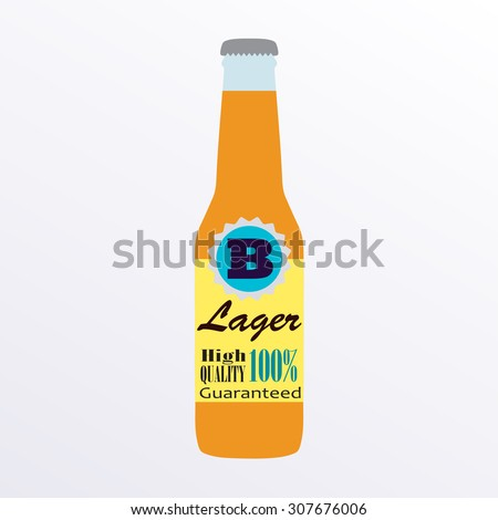 Beer bottle with label on white background. Colorful vector icon or sign. Symbol or design element for restaurant, beer pub or cafe.  - stock photo