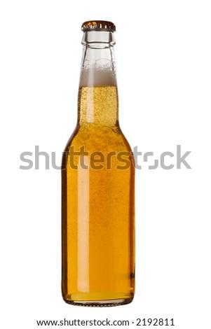 Beer bottle with liquid - stock photo