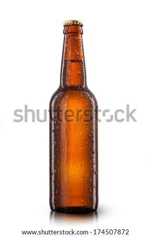 Beer bottle with water drops isolated on white - stock photo