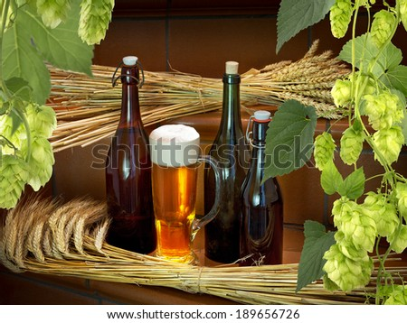 beer bottles and raw material fort beer production - stock photo