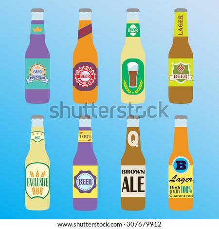 Beer bottles icon set with labels. Colorful symbols or design elements for restaurant, beer pub or cafe. - stock photo