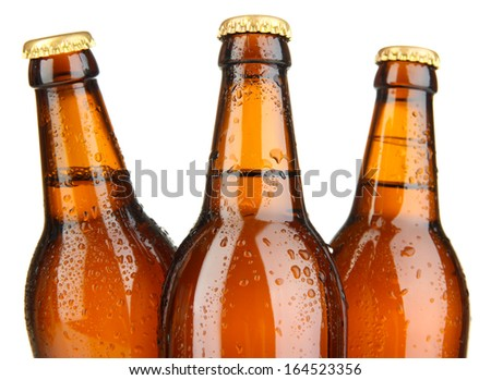 Beer bottles isolated on white - stock photo