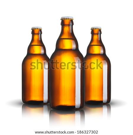 beer bottles isolated on white background - stock photo