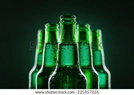 Beer bottles of green glass - stock photo