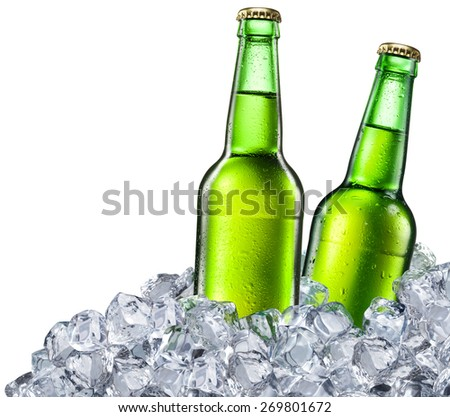 Beer bottles on white background. File contains clipping paths. - stock photo