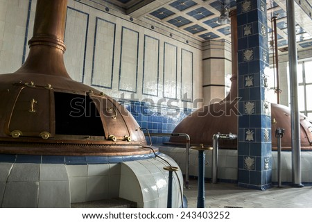 Beer brewery. Traditional way of making a beer. - stock photo
