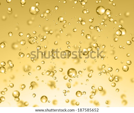 Beer bubbles. Abstract bubbles on yellow background