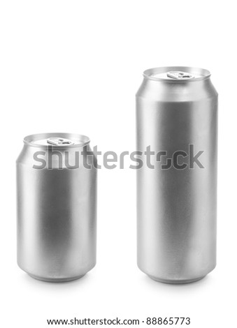 beer can 330 and 500 ml isolated on white background - stock photo
