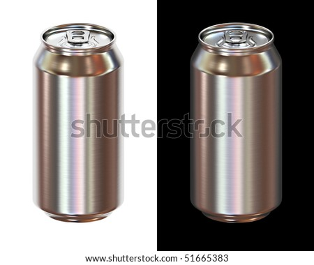 beer can isolated on white and black background