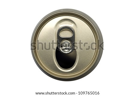 Beer can on white background, from the top view