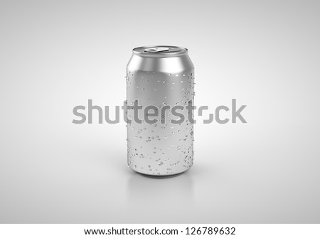beer can with drop isolated on white background - stock photo