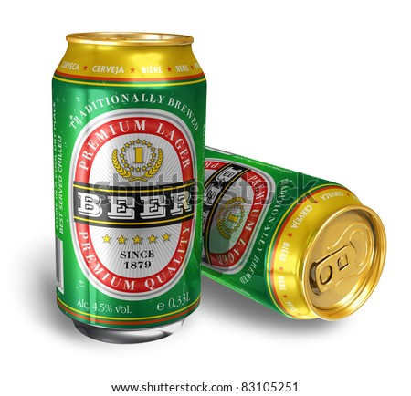 Beer cans isolated on white background - stock photo