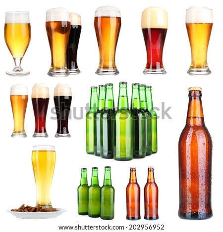 Beer collage, isolated on white - stock photo