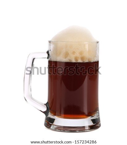 Beer collection - cold dark beer in glass.  Isolated on a white background