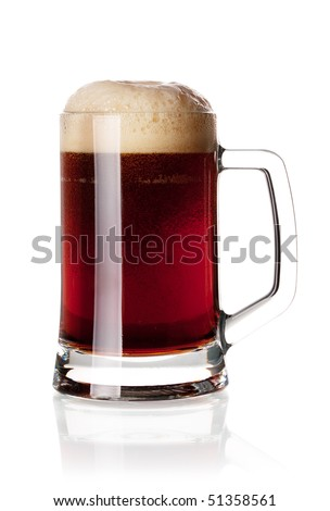 Beer collection - Cold dark beer in glass. Isolated on white background - stock photo