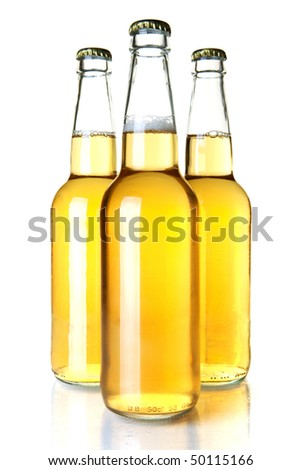 Beer collection - Three lager beer bottles. Isolated on white background