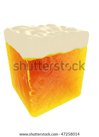 Beer cube,  3D visualization - stock photo