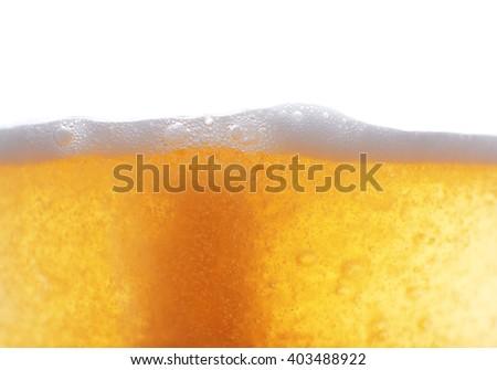 Beer foam, closeup - stock photo