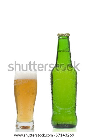 beer glass and beer bottle isolated on white background