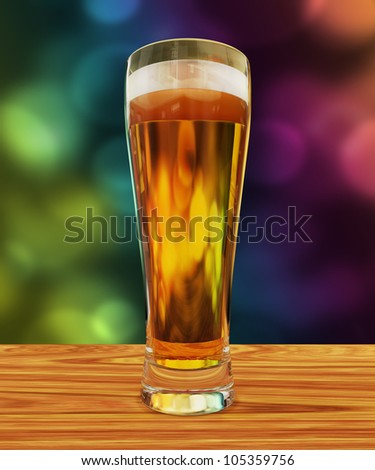 Beer glass. 3D render of a glass full of beer with a bokeh background