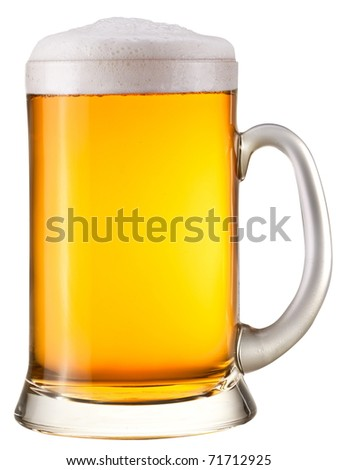 Beer glass on a white background. With Clipping Path. - stock photo