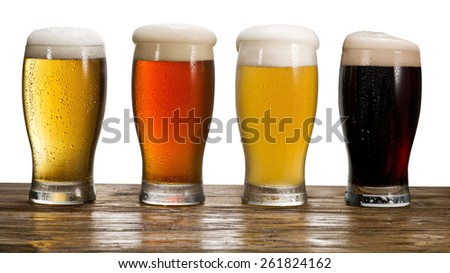 Beer glass on white background. File contains clipping paths.