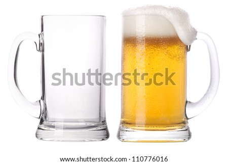 Beer glasses. full and empty isolated on a white background - stock photo