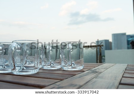 beer glasses in the rooftop - stock photo