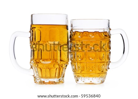 Beer glasses isolated on the white background - stock photo