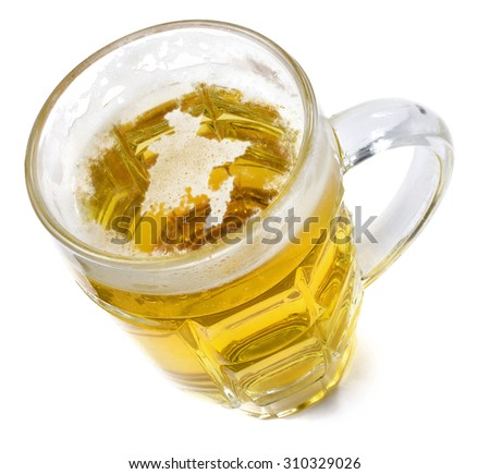 Beer head  in the shaped of Bangladesh and a beer.(series) - stock photo
