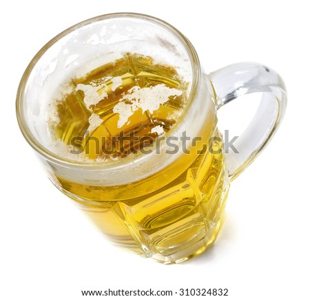 Beer head  in the shaped of the world and a beer.(series) - stock photo