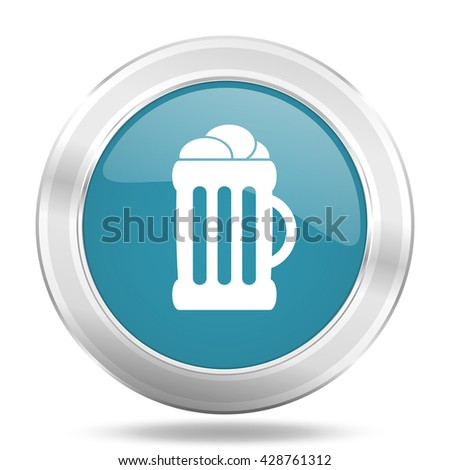 beer icon, blue round metallic glossy button, web and mobile app design illustration - stock photo