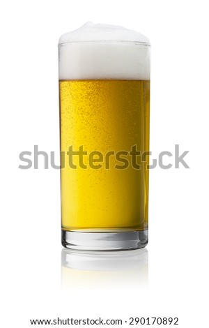 beer in a glass isolated on white background