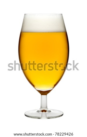Beer in a glass, isolated, white background - stock photo