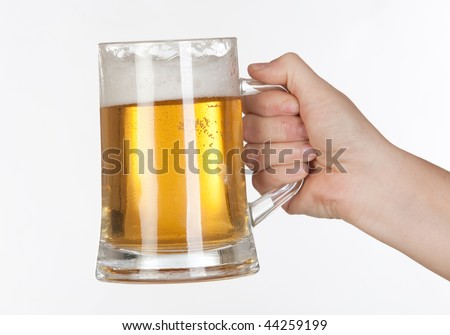 Beer in a glass jar on white background isolated - stock photo
